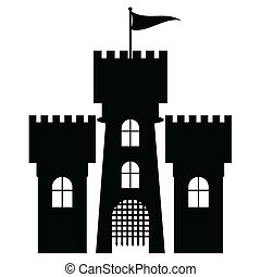 Castle icon isolated, vector illustration