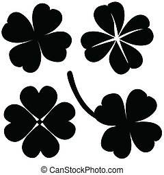 Four leaf clover collection, St Patricks day vector - Four...
