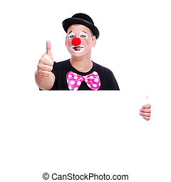 Clown in bowler hat holding the blank board