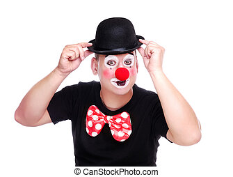 Clown holding his bowler hat - Birthday clown holding his...