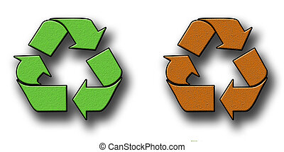 Textured Recycling Symbols - A pair of green and Brown...