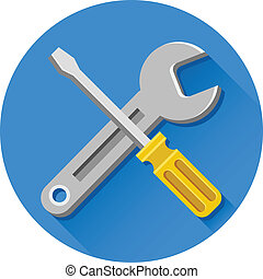 Vector Wrench and Screwdriver Icon