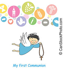 Angel with Crucifix - boy first communion Angel with...
