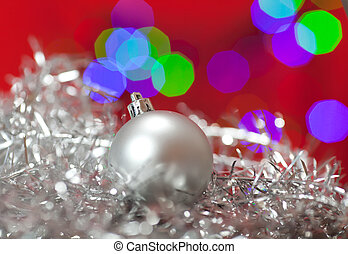 Christmas Ornament - Close up of a silver Christmas ornament...