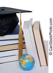 Graduation Cap - Graduation Mortar Board Cap With Books And...