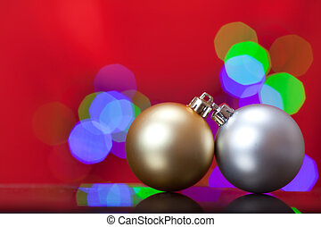 Christmas Ornament - Close up of a silver and gold Christmas...