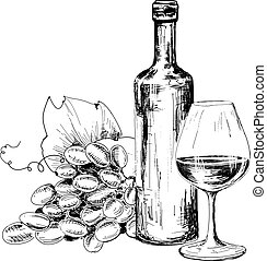 Bottle of wine, glass and grapes. Hand drawn illustratuin