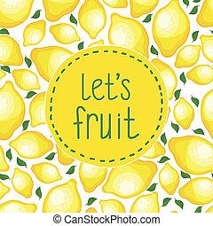 Seamless pattern of lemons, vector illustration.