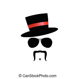 face with mustache silhouette vector