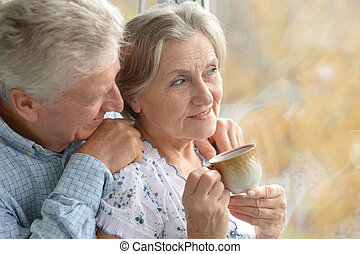 Nice elderly couple - Nice elderly couple together at home...