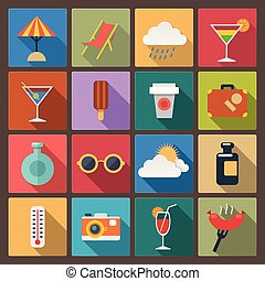 set of rest icons in flat design - Vector set of sixteen...