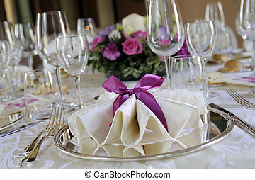 wedding table in elegant restaurant