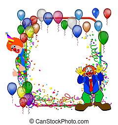 festa, cornice, palloni, carnevale