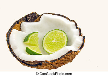 Lime Slices in Coconut - Fresh green lime slices and wedges...