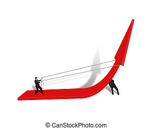 two man trying to rise red arrow up teamwork