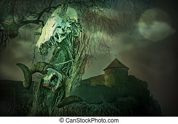 Gothic skull near the old fortress with the Moon - Gothic...
