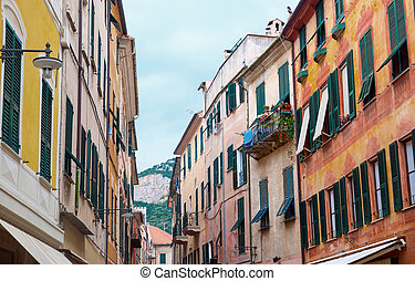 Finale Ligure Savona, Liguria, Italy, old typical street...