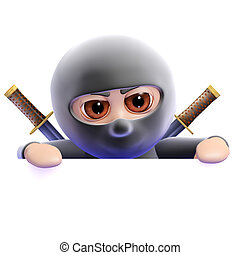 3d Ninja looks over the top - 3d render of a ninja looks...