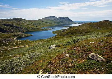 High mountain landscape summertime in Telemark, Norway. 1000...