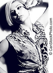 Black and white 80s Style Girl - A young woman with creative...