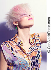 Colorful 80s Style Model - A young woman with creative hair...