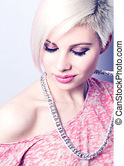 Pink Fashion Girl - A young woman with creative hair style...