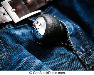 Potency - Gear shift lever in the zipper of mens jeans
