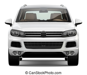 White SUV - White suv on  a white background