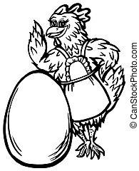 chicken and the egg - hand drawn, cartoon, sketch...
