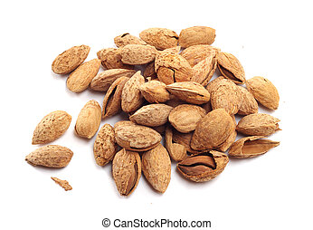 Almond nuts in shell - Heap of almond nuts in shell isolated...