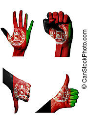 hands with multiple gestures (open palm, closed fist, thumbs up and down) with Afghanistan flag painted isolated on white