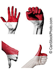 hands with multiple gestures open palm, closed fist, thumbs...