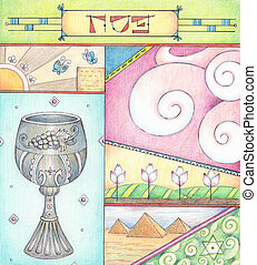Passover Greetings - Colored pencils greeting card for...