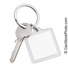 one house key and square keychain on ring isolated on white...