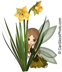 Cute Toon Daffodil Fairy, Hiding - Cute toon daffodil fairy...
