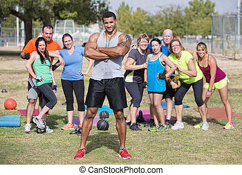 Confident Instructor with Fitness Class