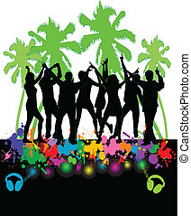 The event at the beach-colored background