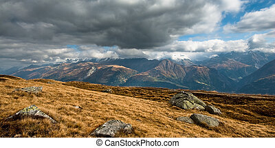 panoramic view of swiss alps, engadin, switzerland