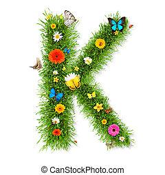 """Spring letter """"K"""" - Fresh grass spring letter """"K"""" with..."""
