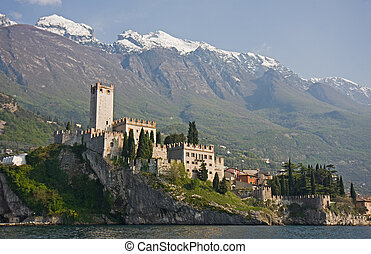 malcesine - castle of malcesine at garda lake in italy