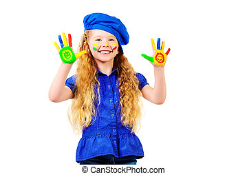 show palms - Laughing little girl painted in bright colors....