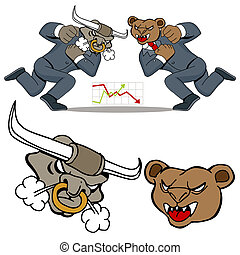 Bull Bear Battle - An image of a bull bear stock market...
