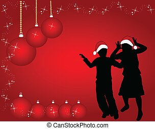Silhouettes of children's Christmas