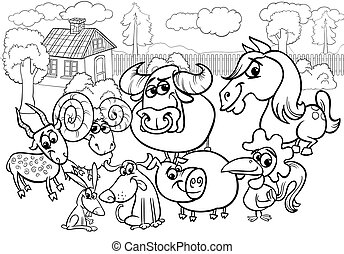 farm animals cartoon coloring page - Black and White Cartoon...