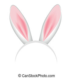 rabbit ears crown - crown with pink and white bunny ears eps...