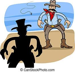 gunmen duel cartoon illustration - Cartoon Illustration of...