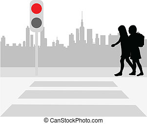 Pedestrian crossing - vector illustration