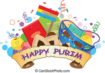 Happy Purim Banner - Colorful banner with purim symbols and...