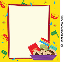 Purim Note - Purim banner with a colorful background. Eps10