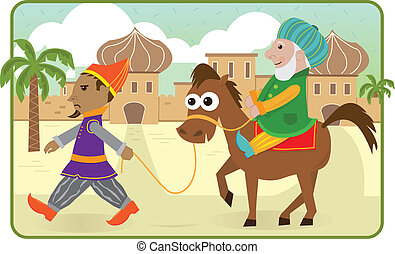 Purim Story - Mordechai rides a horse lead by Haman. Eps10